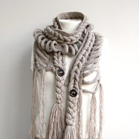 Free SHIPPING Milky Brown Wool  Scarf with Brown Button Valentines Day gift  UNDER 75USD For Her