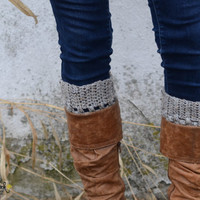 Womens Boot Cuffs // Boot Socks // Boot Toppers // Grey Tweed, Neutral // Puffy Boot Cuffs