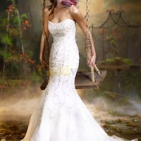 Elegant Mermaid Trumpet Strapless Embroiery Satin Organza Wedding Dress