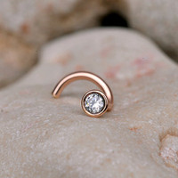 NOSE RING CZ stone 2mm in 3mm 14K rose gold filled setting. Also Cartilage or Ear Stud handcrafted