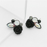 Cute Rose Rhinestone Stud Earrings at Online Fashion Jewelry Store Gofavor