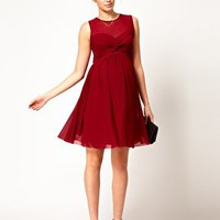 ASOS Maternity Dress With Mesh And Front Knot at asos.com