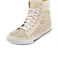 Studded Hi-Top Lace-Up Sneaker: Charlotte Russe