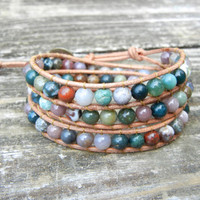 Beaded Leather 3 Wrap Bracelet with Earthy Mixed Green Rainbow Jade Gemstone Beads on Natural Tan Leather