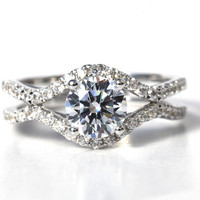 CUSTOM Made For YOU - 1.45 carat Round - Diamond Engagement Ring 14K white gold - Split Open Double Shank - Weddings- Luxury- Brides