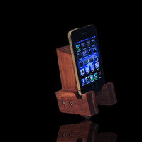 "The dark walnut ""Minion"" custom handcrafted wooden docking stand for all iPods, iPhones, Android and Windows phones"