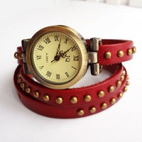 Retro Rivet Punk Leather Bracelet Bangle Wrist Vintage Watch red