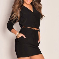 Little Black Deep V-Neck Braided Skinny Belt Sexy Club Dress With Pockets
