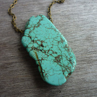 Large Turquoise Howlite Slab long chain Necklace n3 by AstralEYE