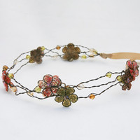 wreath of wired beads with sequin flowers by BeSomethingNew