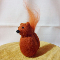 Needle Felted Squirrel -  miniature squirrel figure - 100% merino wool - wool felt squirrel