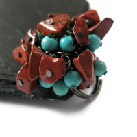 Turquoise Cluster ring Red Jasper cocktail bling statement jewelry adjustable black ring base