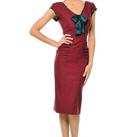1940's Style STOP STARING Burgundy & Black Polka Dot Cap Sleeve Wiggle Bow Tie Dress - Unique Vintage - Cocktail, Evening & Pinup Dresses