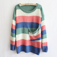 Green Collar Multicolor Striped Pocket Sweater from Showmall