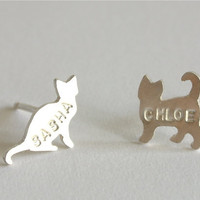 Personalized Cat Post Earrings. sterling silver. stud earrings