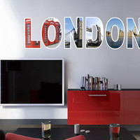 London  text city decal for housewares