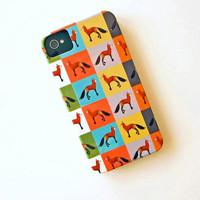 FOX Color Block IPhone 4/4s case Multi pattern iPhone 5 case Colors yellow, pink, green, purple, blue redtilestudio