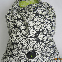 Black &amp; White Backpack with Lime Green Lining