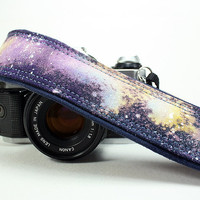 Galaxy  No. 20 Camera Strap, Hand painted, dSLR or SLR, Cosmos, Nebula
