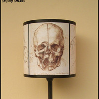 Da Vinci&#x27;s Creed Skull lamp shade lampshade - anatomy skeleton, steampunk decor, Da Vinci sketches, Renaissance, Assassin&#x27;s creed, Italy