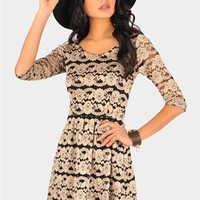 Two Toned Lace Dress - Gold