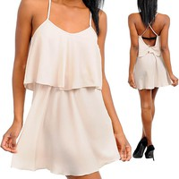Beige Layered Spaghetti Strap Dress