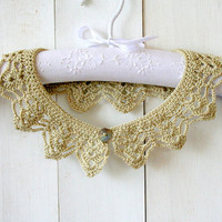 Beige Necklace Crochet Lace Collar