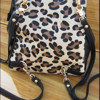 Wholesale Stylish Punk Leopard Tassel Multipurpose Backpack Black