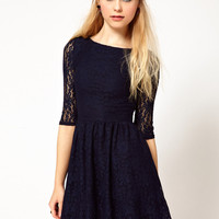 River Island Navy Lace Skater Dress
