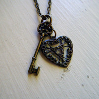 Antiqued Brass Heart and Key Charm Necklace