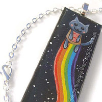 Nyan Cat, Rainbow Art Pendant Necklace, Hand Painted, Rectangle Wood Artwork