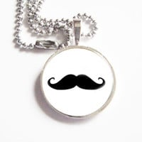 Black Mustache Glass Pendant Neckla.. on Luulla