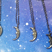Moon face charm necklace