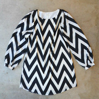 The Everly Zig Zag Shift Dress [3473] - $52.00 : Vintage Inspired Clothing & Affordable Fall Frocks, deloom | Modern. Vintage. Crafted.