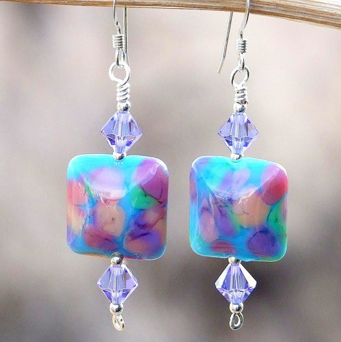 Handmade Lampwork Earrings Turquoise Lavender Pink OOAK Beaded Jewelry