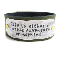 Inspirational Bracelet -  Leather Cuff - Those Who Danced To The Music - Your Choice of Color