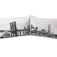 THE BRIDGE PILLOW CASE SET | Sham, Bedding, Bed Room, Sheets, Blankets, New York, Brooklyn Bridge, Photography | UncommonGoods