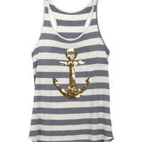 Stripe Sequin Anchor Tank