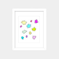 Gemstone, Neon and Pastel Art Print- White Background - 8x10 Wall Art, Falling, Floating, Geometric, Crystals, Minerals