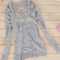Womens Girl's Fashion Floral hollow Thin Knitting cardigan Sweater Top