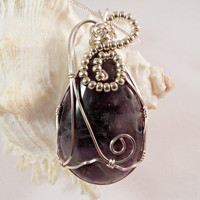 Amethyst Wire Wrapped Pendant, Amethyst Jewelry