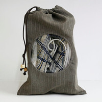 Travel shoe storage bag, brown pinstripe suit