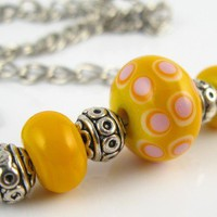 Yellow delight lampwork bead necklace