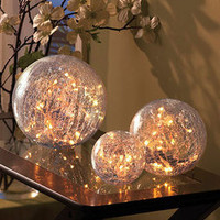 Lighted Cracked Glass Decorative Light Orb Decorations Balls