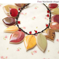 Autumn Leaf necklace BN010 by BeautySpot on Etsy