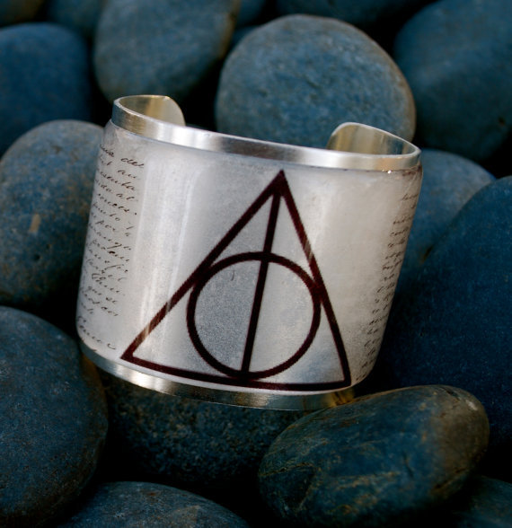 Deathly Hallows Harry Potter Symbol on a Gold or by RusticCuff
