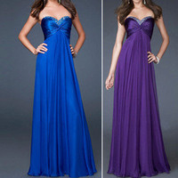 Womens NEW Fashion Sexy Chiffon Strapless Prom Party Evening Long Dress NEW