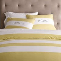 Stripe Duvet Cover + Shams- White/Citron | west elm