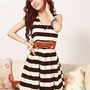Exquisite Striped V-neckline  Sleeveless Dress with Belt: tidestore.com