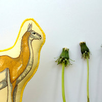 Cloth Guanaco Toy HandDrawn Organic Cotton by TheHandmadeClassroom